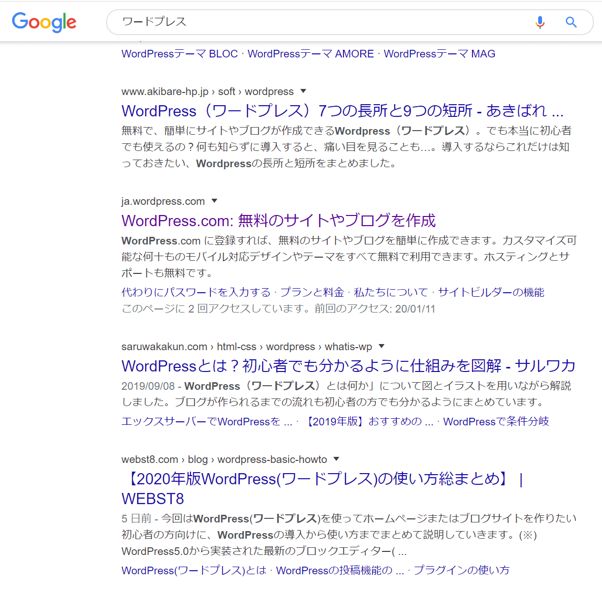 Google検索結果「ワードプレス」